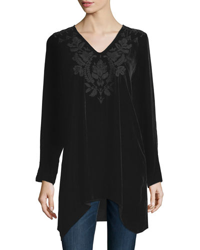 Johnny Was Collection Holland Embroidered Velvet Tunic