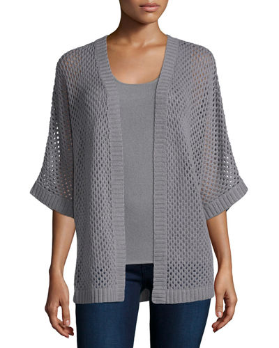 Neiman Marcus Cashmere Collection Open Weave Knit Cardigan