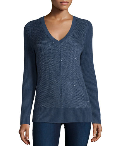 Neiman Marcus Cashmere Collection Sequin Ribbed-Stitch V-Neck Sweater
