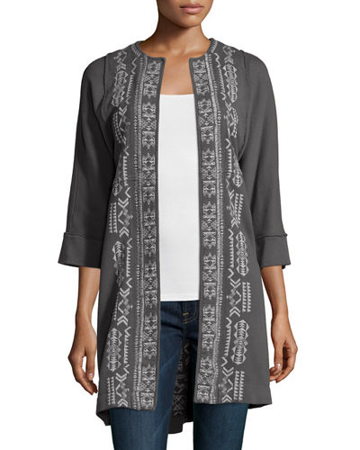 JWLA for Johnny Was Lelko Embroidered Coat W/ Raw Seams