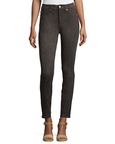 7 For All Mankind High-Waist Skinny Sueded Pants