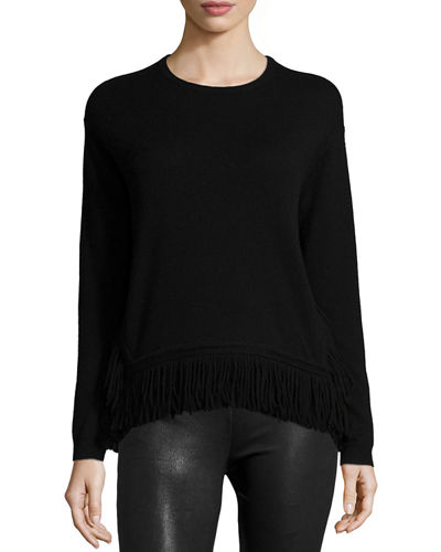 Derek Lam 10 Crosby Long-Sleeve Fringe-Hem Top