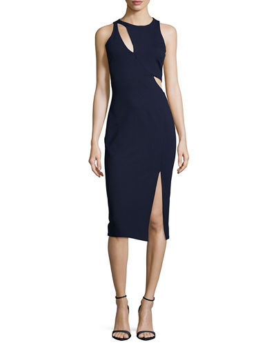 Nicholas Sleeveless Ponte Curve Splice Dress