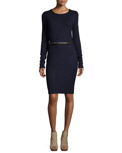 CREW NECK LS DRESS W/ BELT