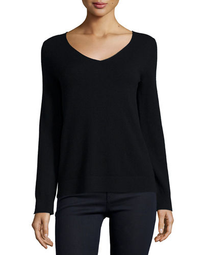 Neiman Marcus Cashmere Collection Modern Cashmere V-Neck Sweater