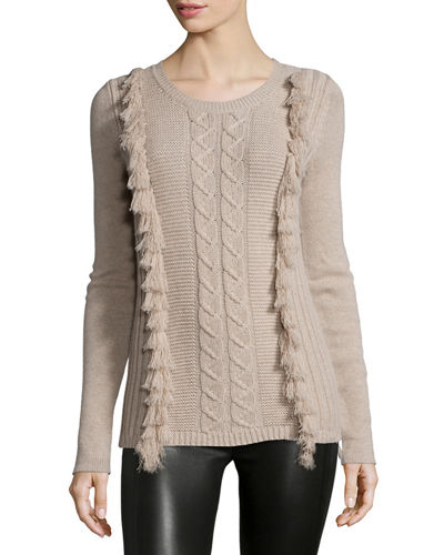 Tess Giberson for Neiman Marcus Cashmere Collection Cable-Knit Fringe-Front ...