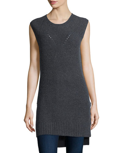 Tess Giberson for Neiman Marcus Cashmere Collection Shaker-Stitch Long ...