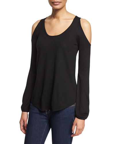 Neiman Marcus Cashmere Collection Cold-Shoulder Top