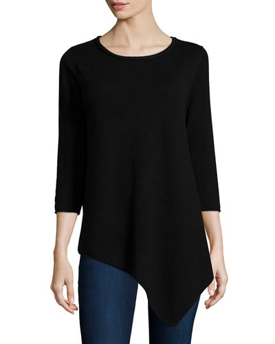 Neiman Marcus Cashmere Collection Long-Sleeve Asymmetric Cashmere Top