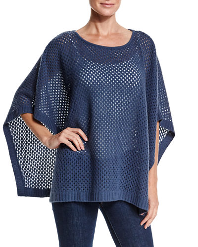Neiman Marcus Cashmere Collection Open-Weave Cashmere Poncho