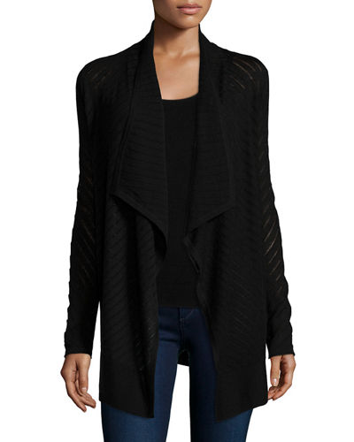 Neiman Marcus Cashmere Collection Stripe-Stitch Draped Cardigan