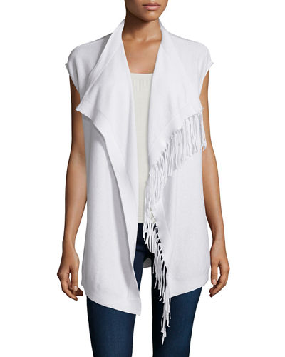 Neiman Marcus Cashmere Collection Fringe-Trim Cashmere Vest