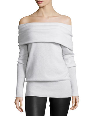 Autumn Cashmere Off-the-Shoulder Slouchy Cashmere Sweater