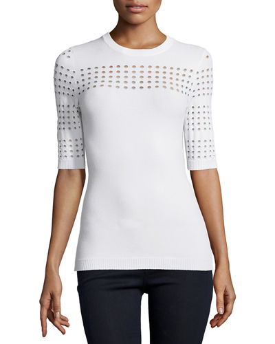 Autumn Cashmere Half-Sleeve Sweater with Perforated Detail