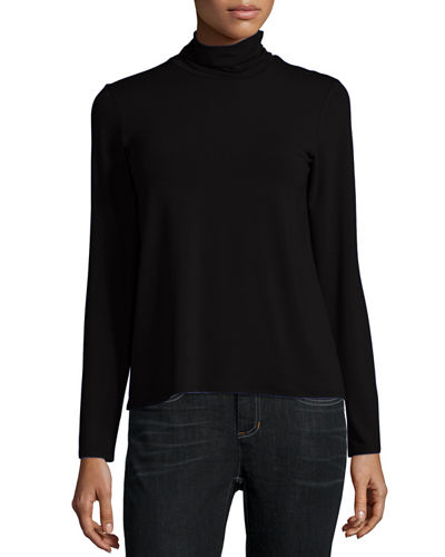 Eileen Fisher Scrunch-Neck Long-Sleeve Top