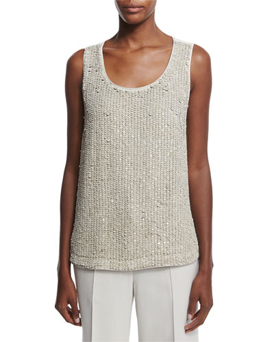 Lafayette 148 New York Cleo Sleeveless Sequined-Front Suede