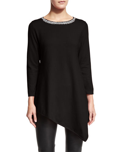 Carmen by Carmen Marc Valvo Jewel-Neck Asymmetric Tunic