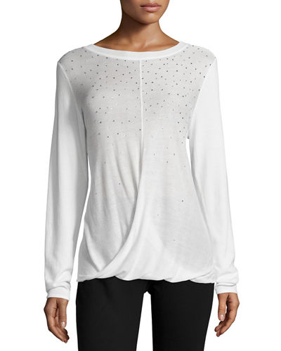 Embellished Draped Pullover Top