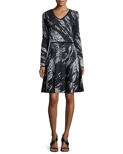 Long-Sleeve Birdseye Jacquard Dress