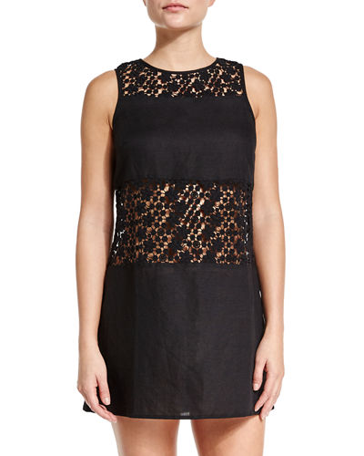 Tory Burch Crocheted-Lace A-Line Coverup Dress