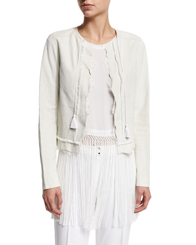 Elie Tahari Pearson Suede Jacket with Lace Trim