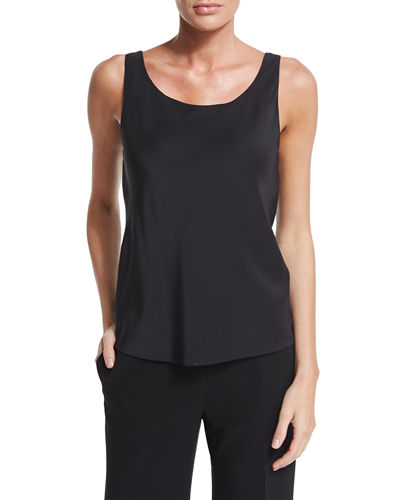 Lafayette 148 New York Charmeuse Silk Bias Tank,