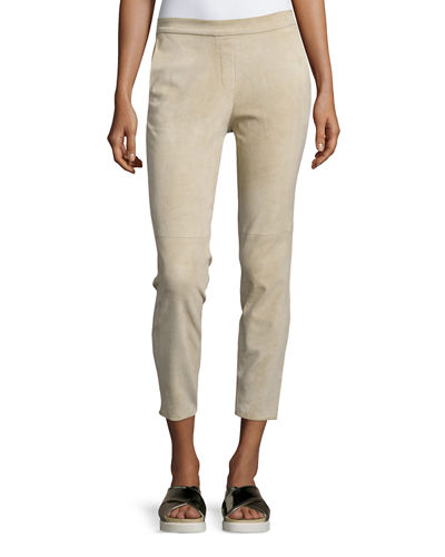 Thaniel Stretch Suede Cropped Pants