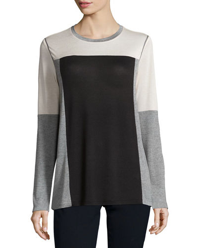 Vince Colorblock Long-Sleeve Tee