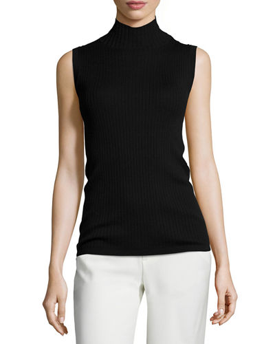 Vince Ribbed Turtleneck Sleeveless Top