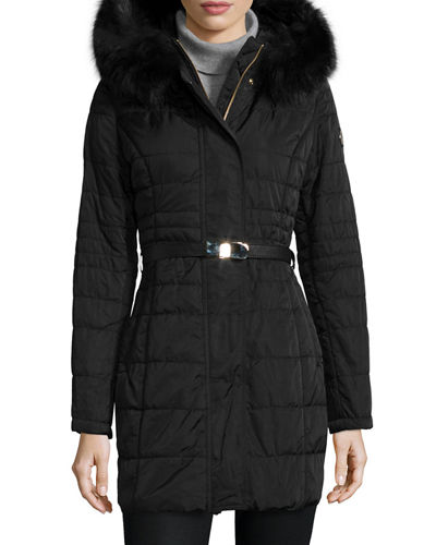 Gorski Belted Puffer Coat w/ Removable Fur-Trim