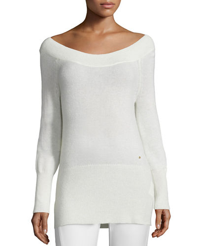 Halston Heritage Off-the-Shoulder Slim Cashmere Tunic
