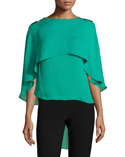 Halston Heritage Cape Top W/ Square Rings