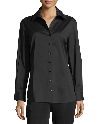 Misook Long-Sleeve Button-Front Shirt, Plus Size
