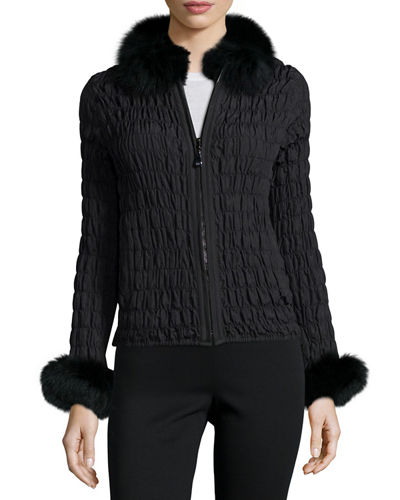 Belle Fare Reversible Rabbit Fur/Ruched Jacket