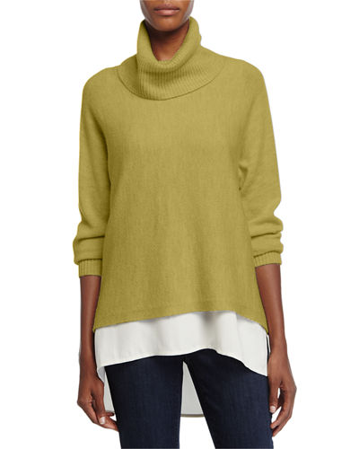 Eileen Fisher Turtleneck Cowl-Neck Box Top