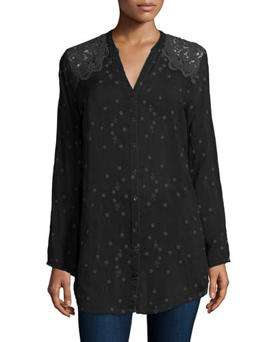 Johnny Was Collection Lace-Shoulder Embroidered Blouse