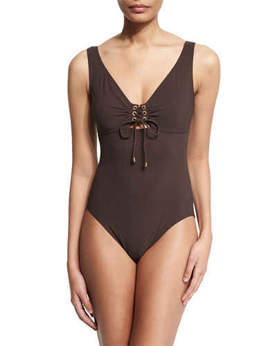 Lace-Up Front Underwire One-Piece Swimsuit