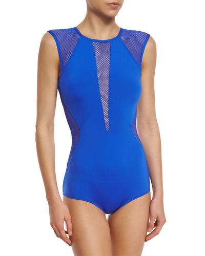 Carmen Marc Valvo Kayak Net-Insert One-Piece Swimsuit