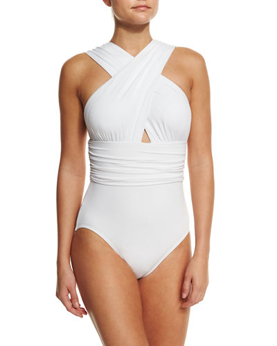 Michael Kors Collection Crisscross Front One-Piece Swimsuit