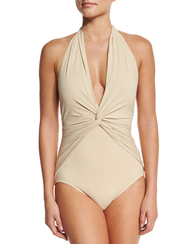 MICHAEL Michael Kors Twist-Front Halter One-Piece Swimsuit