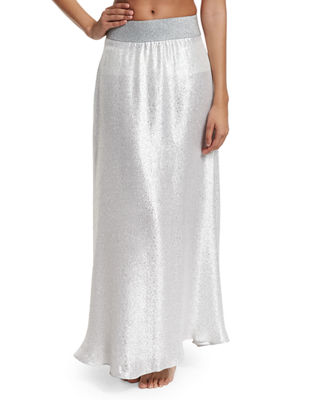 MARIE FRANCE VAN DAMME BRIGHT METALLIC A-LINE MAXI SKIRT COVERUP