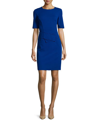 Lafayette 148 New York Half-Sleeve Waist-Paneled Dress