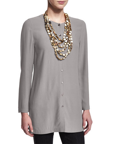 Long Silk Button-Front Blouse, Petite