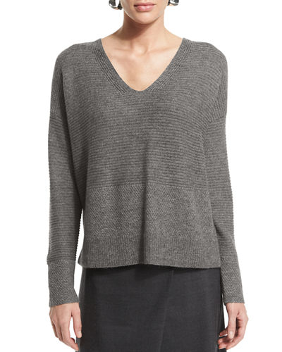 Eileen Fisher Long-Sleeve V-Neck Top
