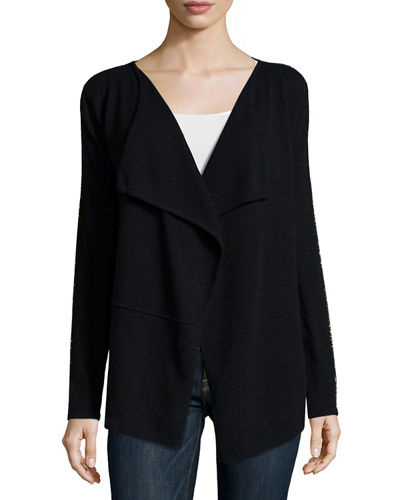 Neiman Marcus Cashmere Collection Draped Cardigan with Chain Trim