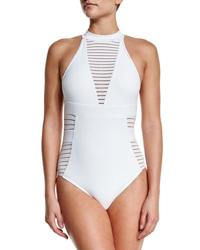 JETS by Jessika Allen Ribbed High-Neck One-Piece Swimsuit