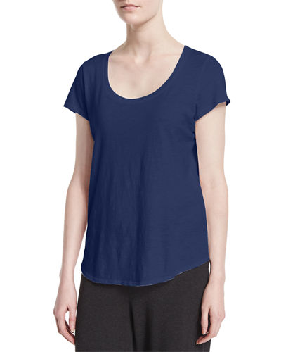 Eileen Fisher Slubby Short-Sleeve Scoop-Neck Tee