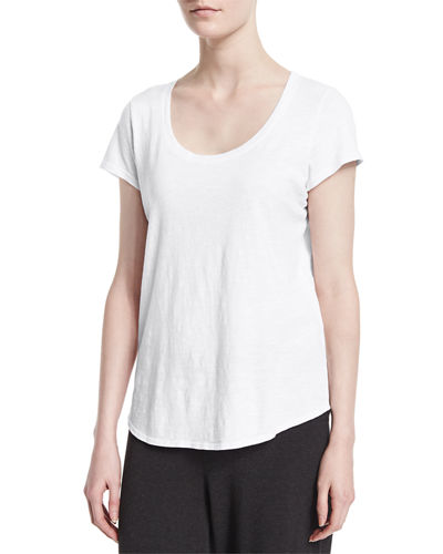 Eileen Fisher Slubby Short-Sleeve Scoop-Neck Tee, Petite