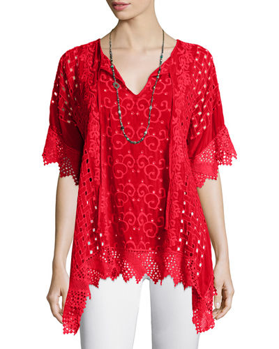 Johnny Was Collection Drapey Eyelet Tunic with Crochet Trim