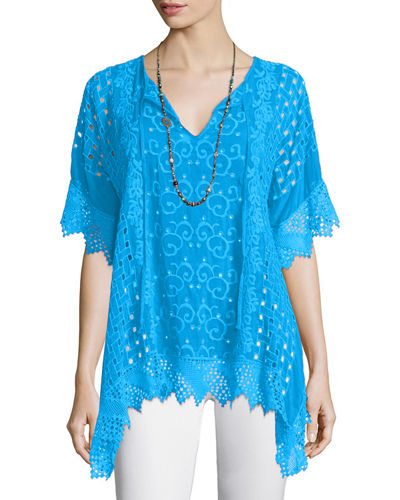 Drapey Eyelet Tunic with Crochet Trim
